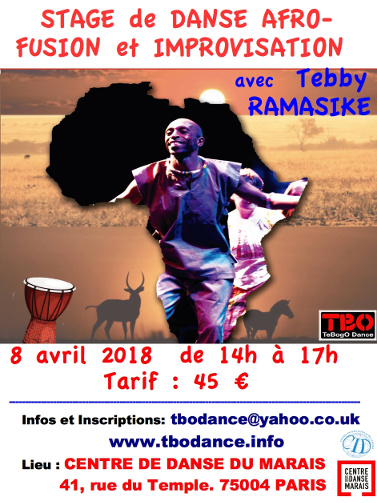 Stage de danse Afro-fusion Tebby Ramasike, Paris 4 avril 2018
